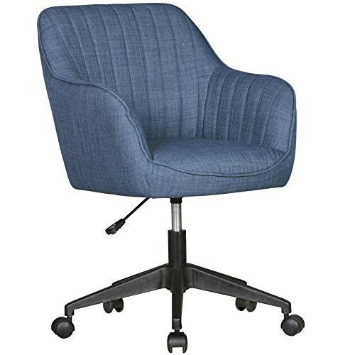 FineBuy Schreibtischstuhl Vara Blau Stoff Design Drehstuhl mit Lehne 120 kg | Retro Bürostuhl Drehsessel mit Rollen | Designer Schalenstuhl bequem | PC Stuhl Schreibtischsessel Büro | Bürosessel
