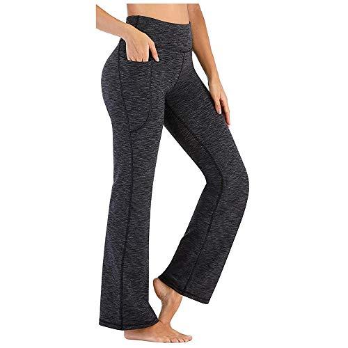quming Training Fitness Estiramiento Yoga Pilates,Pantalones de Yoga elásticos de Cintura Alta para Mujer, Pantalones Deportivos de Fitness, Gris Oscuro_M