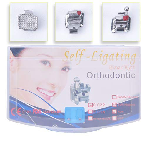 Anhuadental Orthodontic Self-Ligating Metal Bracket 0.022 Roth 3 with Hooks(20 Brackets/Pack)