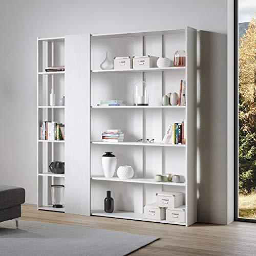 Itamoby, Libreria a Parete in Legno Kato D con 6 Ripiani 5 Scompartimenti Bianco Frassino Arredamento Moderno Ufficio Soggiorno Cucina L.178 P. 34 H.204 cm Made in Italy