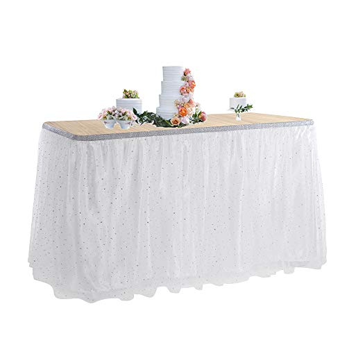 Tutu Table Skirt 6ft for Round Retangle Table Adjustable Tulle Table Skirting for Birthday Baby Shower Graduation Wedding Anniversary Picnic Friends or Family Party Decoration-White