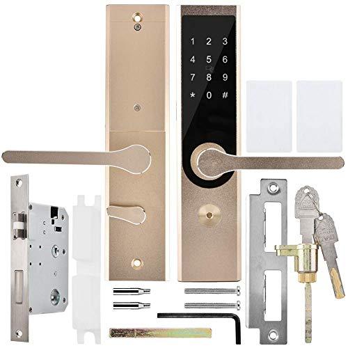 Pangding Cerradura de Puerta Inteligente, antirrobo Inteligente A4 WiFi BT Cifrado Teclado Remoto Contraseña Tarjeta Entrada Puerta Sistema de Seguridad Cerraduras para Oficina en casa