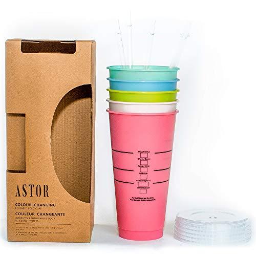 Astor | Farbwechsel-Becher | 5 wiederverwendbare Becher, Deckel und Strohhalme | Eiskaffeebecher | 680 ml kalte Becher (Pastellfarben mit Linien und Schachteln).