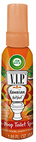 Air Wick V.I.P. Pre-Poop Toilet Spray, Up to 100 uses, Contains Essential Oils, Hawaiian Hotshot Scent, Travel size, 1.85 oz, Holiday Gifts, White Elephant gifts, Stocking Stuffers