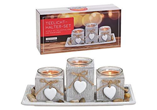 Portavelas de 3 velas con colgante de corazón de madera, cristal blanco, juego de 5 unidades, 28 x 13 x 11 cm