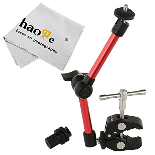 Haoge 11 inch Articulating Friction Magic Arm with Large Clamp Clip for HDMI LCD Monitor LED Light DSLR Camera Video Tripod Flash Lights Microphone TPCAST HTC Vive Pro Base Station lightinghouse Red