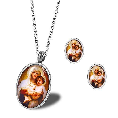 Burenqi Religiosa Santísima Virgen María y Bebé Jesús Aretes Colgantes de la Familia Conjunto de Joyas en Acero Inoxidable,Plata