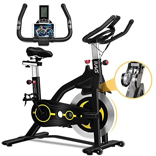 RAVS Exercise Bike, 2021 Upgraded Magnetic Resistance Indoor Cycling Stationary Bikes Fitness Workout Spin Bike for Home Gym with Height Adjustable Comfortable Seat, Silent Belt Drive, LCD Monitor, Phone Holder, Max Load 330lbs