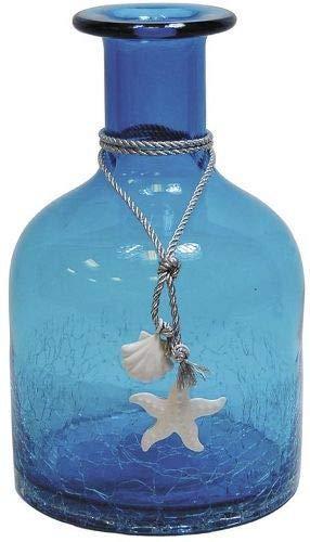 Vase petite bouteille en verre teinté bleu