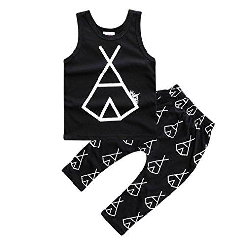 kingko® bébé garçons 1Réglez Infant Toddler Enfants Imprimé sans manches T-shirt Tops + Pantalons Tenues Vêtements (24M)