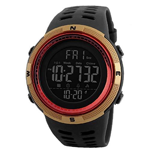 Nicedier Los Estudiantes del Reloj Reloj Militar electrónico Digital con Cuero Brazalete de Oro de fácil Lectura Accesorios personales Impermeable Reloj cronómetro Classic
