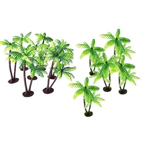 SUPVOX 12pcs Coconut Palm Model Trees Scenery Model Miniature Plastic Artificial Layout Rainforest Diorama Building Model Trees Cake Topper
