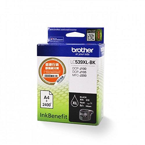 Brother LC539XLBK schwarze Tintenpatrone, 2400 Seiten, Schwarz, (Brother, DCP-J100 InkBenefit, DCP-J105 InkBenefit, MFC-J200 InkBenefit, MFC-J200 InkBenefit, 2400 Seiten, ISO/IEC 24711)