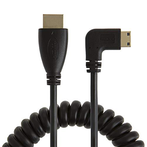 CableCreation Mini HDMI zu HDMI, gewickelten rechts abgewinkelt Mini-HDMI Stecker auf HDMI Stecker Konverter Adapter Kabel, Unterstützung 3D, 1080p Auflösung, 1~ 4Füße/schwarz