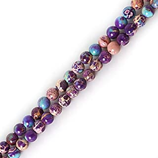 ZRBC Nature dyed Stone round ball beads 4mm Red/Purple/Green//Royal Blue Sea Sediment Beads For DIY fashion Jewelry (Color : Purple)