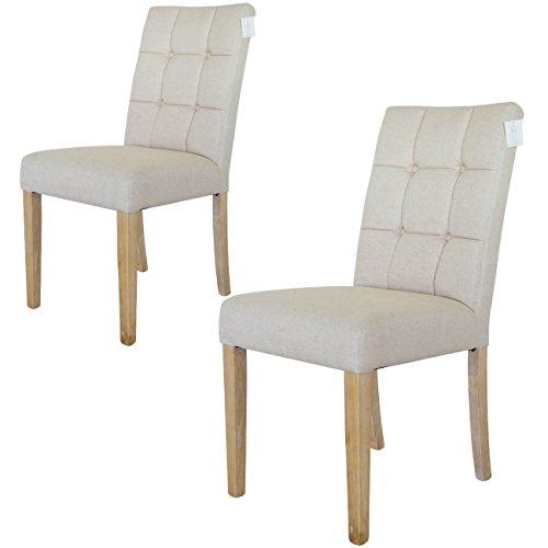 Damiware Paris Esszimmerstühle 2er Set | Stoff Baumwolle-leinen - Eschenholz Beinen | Beige - weiß Wäsche