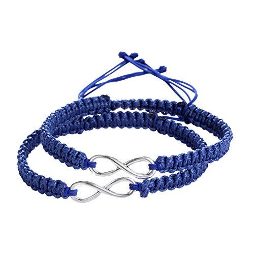 GuDeKe 2PC / Set Los Amantes de Siempre 8 Infinito Pulsera Artesanal Trenzada Pareja Brazalete de Cuerda Cuerda Cadena Ajustable 17-28CM (Infinito (Azul Oscuro))