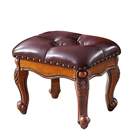 Taburete Americano, Taburete de Mesa de café, Sofá de la Sala de Estar Taburete de Madera Maciza Cuero tapizado de Lujo, Queen Anne Legs Footstools (Color : Brown)