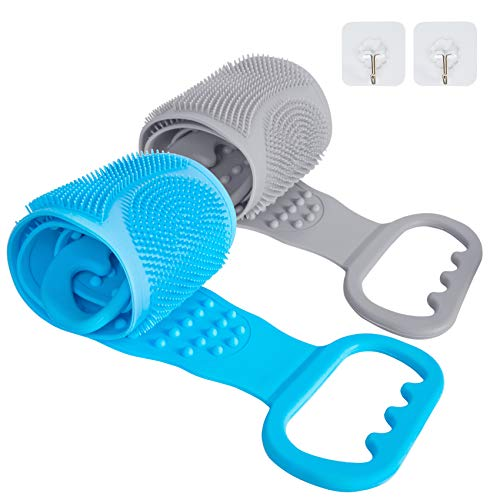 AFSTEE 2 Packs Silicone Back Scrubber for Shower, Silicone Bath Body Brush, Easy Clean Quickly Dry Skin Exfoliation Cleanses, Double-sided Long Blue and Grey Brush with 2 Hooks for Men Women