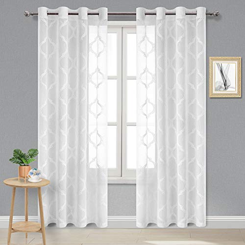 DWCN Moroccan Embroidered Sheer Curtains - Faux Linen Grommet Top Semi Voile Bedroom and Living Room Curtains, Set of 2 Window Curtain Panels, 52 x 84 Inches Long, Off White