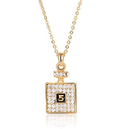 2LIVEfor Kette mit Anhänger Flasche Flacon Glitzer Gold Halskette Quadratisch mit Österreichischen Kristallen Zahlen 5 Halskette Strass Elegant