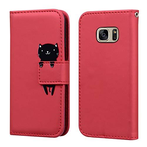 FMPC Funda Samsung Galaxy S7 Edge con Tapa, Wallet Serie Cuero Carcasa con Libro Case, Cierre Magnético Función de Soporte Gato de Dibujos Animados en 3D, Rojo
