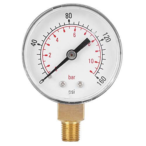 0-160psi Vakuum-Manometer, 0-11bar Manometer mit Doppelwaage, Druckinstrument für Wasser Öl Gas Flüssigkeit
