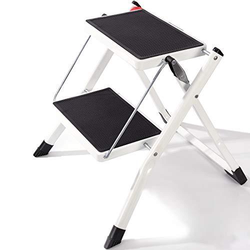 2段踏み台折りたたみ ポータブルで丈夫なスチールステップラダー 軽量 折りたたみ式 小さな脚立 ハンドグリップ付き 子供 大人 家庭 キッチン バスルーム 最大荷重330ポンド