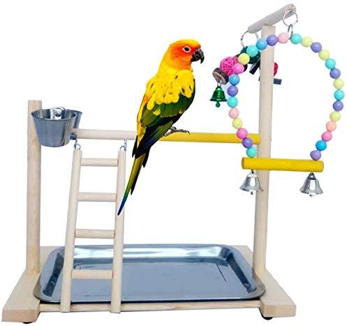 YXYOL Sólido Soporte de Madera del Loro, Loro Oscilaciones Birdcage de Madera Perca del Soporte Plataforma de Juegos Playstand Escalera con Acero alimentador Tazas adiestramiento Aves Inoxidable