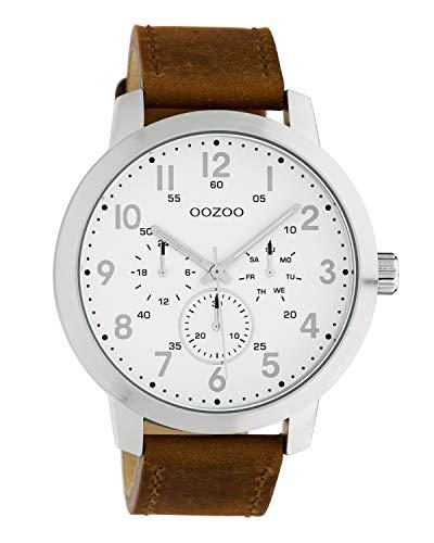 Oozoo C10505 - Orologio da uomo con cinturino in pelle, 45 mm, colore: Argento/Bianco/Marrone