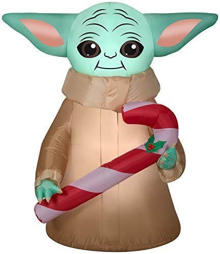 Gemmy 5Ft. Tall Star Wars The Mandalorian The Child Baby Yoda Holding Candy Cane Christmas Airblown Inflatable Indoor/Outdoor Decoration