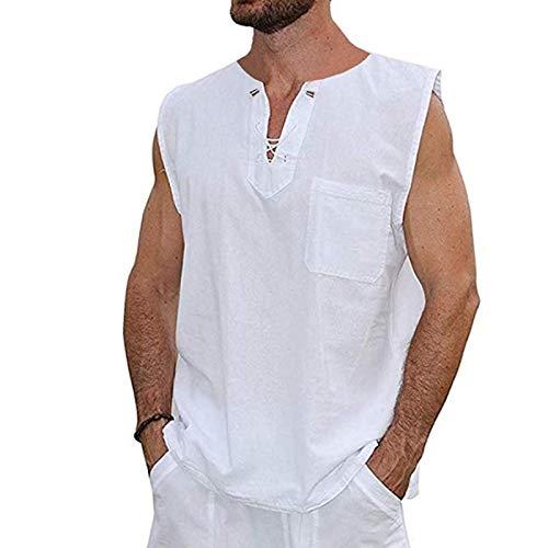 Camisa de Chaleco para Hombre Color sólido clásico Diseño de cordón único Moda Decoración de Bolsillo Costura Casual Jersey sin Mangas XXL