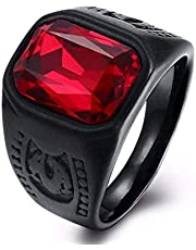 Men's Ring Black with Red Zircon Stone Size 7