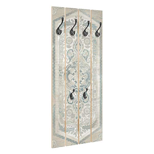 Bilderwelten Holz Wandgarderobe Holzpaneel Persisch Vintage IV - Haken schwarz, 100x40 cm