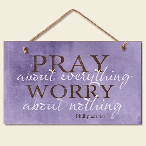 """Ergonflow Pray About Everything Wooden Sign Decor 9.5"""" by 5.75"""" 41-250 (Premium Edition)"""