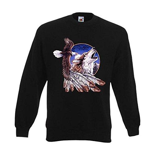 Sweatshirt Eagle and Wulf, American Style Sweat Indianer Motiv mit Adler Wolf und Federschmuck, Pullover große Größen (AIM00135) 3XL