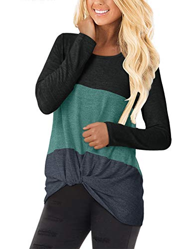 YOINS Camiseta de manga larga para mujer, asimétrica, cuello redondo, sudadera suelta, patchwork 3-negro. XL