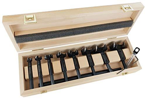 FAMAG Bormax prima Hartmetall-Forstnerbohrer 9-tlg. Set D=15-50mm & 250mm Verlängerung im Holzkasten