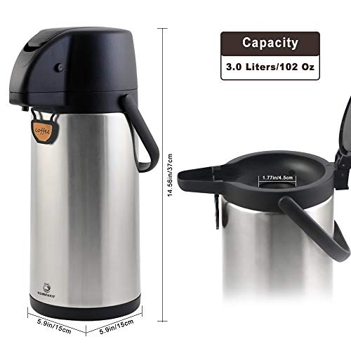 TOMAKEIT Airpot Coffee Carafe Thermal 3L(102 Oz) Insulated Stainless Steel Large Beverage Dispenser Lever Action For Hot/Cold Water