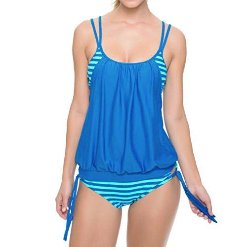 Lazzboy Tankini Damen Bauchweg Bademode Set S-XXXL,Zweiteilig Push up mit Einstellbarer Bikinislip Tankini Top Soft Cups(Himmelblau,3XL)