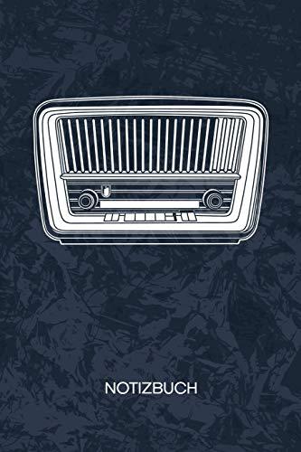 NOTIZBUCH: A5 Kariert - 80er Jahre Liebhaber Heft - Retro Notizheft 120 Seiten KARO - Nostalgieradio Notizblock Digitalradio Retro Motiv - 90er Kind Geschenk