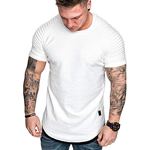 Reooly Hombres Cuello Redondo Slim Color sólido Rayas Falso Dos Camisetas de Manga Corta con Capucha(F9-Blanco,XL)