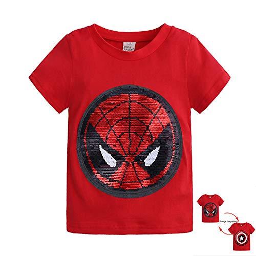 XUANXUAN Camiseta Infantil,La Camiseta De AlgodóN con Lentejuelas Spider Man con Un PatróN Reversible,Tela Suave Puede Absorber El Sudor,Adecuada para NiñOs y NiñAs (Rojo, 90CM)