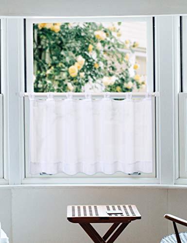 LinTimes tenda corta per tende a disco con anelli tenda da cucina per tende da bistrot in voile shortstore, bianco, 45 * 90 cm, 1 pezzo
