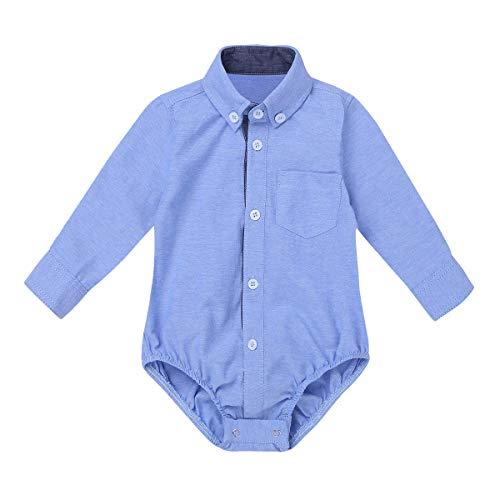 CHICTRY Baby Mädchen Jungen Strampler Hemd-Body mit Kariert Freizeithemd Neugeborene Body Casual Party Overall Hellblau 68