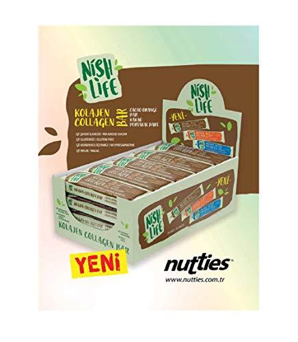 Nish Life Collagen Protein Bar | Gluten Free No Added Sugar | No Preservative Halal Energy Bar | 24 Inner - 8 Outer Box - 192 Bars | (Cacao Orange)