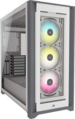 Corsair iCUE 5000X RGB Mid-Tower-ATX-PC-Smart-Gehäuse mit Gehärtetem Glas (Vier Paneele aus Gehärtetem Glas, RapidRoute-Kabelführungssystem, Drei Inbegriffene 120-mm-RGB-Lüfter) Weiß