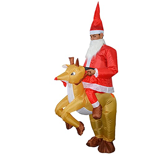 Funien Inflatable Santa, Adults Santa Riding Reindeer Inflatable Costume Suit Blow Up Inflatable Fancy Dress for Christmas Dress Up Party Stage Performance