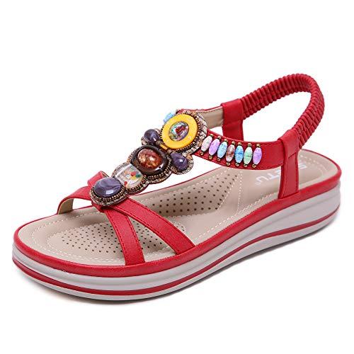 Chanclas/Sandalias de Playa para Mujer Sandalias de Descubierta Mujer Sandalias Planas Mujer Verano Mujer Moda para Mujer Zapatillas Retro Planas Ocasionales Zapatos de Cristal Sandalias