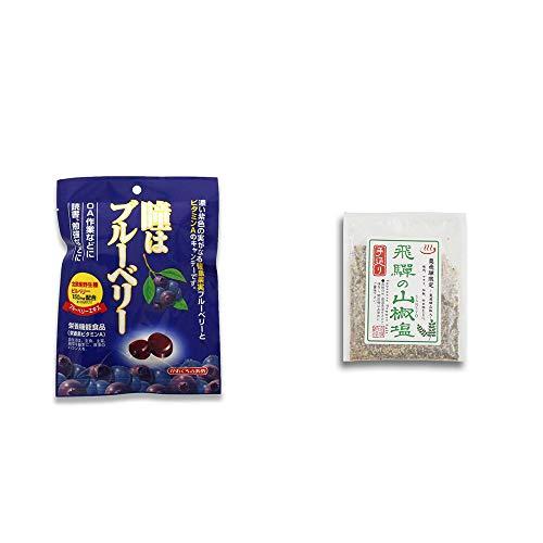 [2点セット] 瞳はブルーベリー 健康機能食品[ビタミンA](100g)・手造り 飛騨の山椒塩(40g)